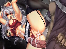 1boy abs after_sex animal_ears arms_over_head belt biting_lip blush bondage bondage breast_grab breasts chains crescentia cum cum_in_pussy cum_on_body cum_on_penis cum_on_wall deathblight deathblight_rpg demon erection female ferania_(deathblight) functionally_nude fur game_cg game_over garters glans handcuffs helpless high_heels large_breasts leg_up lips lipstick locker long_hair long_nails nail_polish navel nipples panties panties_aside penis pussy red_eyes red_panties restrained shoes silver_hair skirt spread_legs tail tank_top teeth thighhighs torn_clothes uncensored veins wall white_hair wolf_ears wolf_girl wolf_tail zipper