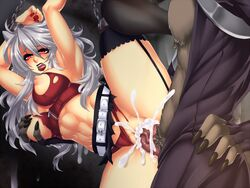 1boy abs animal_ears arms_over_head belt biting_lip blush bondage bondage breast_grab breasts chains clothed_sex crescentia cum cum_in_pussy cum_on_wall cum_overflow deathblight deathblight_rpg demon ejaculation female ferania_(deathblight) functionally_nude fur furry game_cg game_over garters glans handcuffs helpless high_heels insemination large_breasts leg_up lips lipstick locker long_hair long_nails nail_polish navel nipples panties panties_aside penis pussy rape red_eyes red_panties restrained sex shoes silver_hair skirt spread_legs tail tank_top teeth thighhighs torn_clothes uncensored underwear vaginal_penetration veins wall white_hair wolf_ears wolf_girl wolf_tail zipper