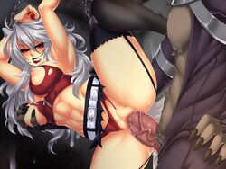 1boy abs angry animal_ears arms_over_head belt biting_lip blush bondage bondage breast_grab breasts chains crescentia cum cum_on_wall deathblight deathblight_rpg demon female ferania_(deathblight) functionally_nude fur game_cg game_over garters glans handcuffs helpless high_heels large_breasts leg_up lips lipstick locker long_hair long_nails nail_polish navel nipples panties panties_aside penis pussy rape red_eyes red_panties restrained sex shoes silver_hair skirt spread_legs tail tank_top teeth thighhighs torn_clothes uncensored vaginal_penetration veins wall white_hair wolf_ears wolf_girl wolf_tail zipper