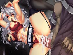 1boy abs animal_ears arms_over_head belt blush bondage bondage breast_grab breasts chains clothed_sex crescentia cum cum_in_pussy cum_on_body cum_on_penis cum_on_wall deathblight deathblight_rpg demon erection female ferania_(deathblight) functionally_nude fur furry game_cg game_over garters glans handcuffs helpless high_heels large_breasts leg_up lips lipstick locker long_hair long_nails nail_polish navel nipples one_eye_closed open_mouth panties panties_aside penis pussy rape red_eyes red_panties restrained sex shoes silver_hair skirt solo spread_legs tail tank_top teeth thighhighs torn_clothes uncensored underwear vaginal_penetration veins wall white_hair wolf_ears wolf_girl wolf_tail zipper
