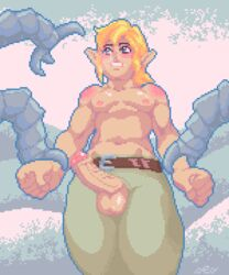 2017 3_fingers 5_fingers ambiguous_gender animated arm_grab athletic balls beige_penis belt biped blinking blonde_hair blue_eyes blush breath_of_the_wild claws clothed clothing cold digital_media_(artwork) erection exposed fist fog front_view frown green_bottomwear green_clothing guardian_(zelda) hair humanoid humanoid_hands humanoid_penis hylian light_skin link loop low-angle_view low_res machine male male/ambiguous metallic_body navel nintendo nipples not_furry outline outside pants penis phimosis pink_nipples pixel_(artwork) pixel_animation pointy_ears portrait public robot ses_vanbrubles shaking shivering short_hair slim snow solo_focus standing tan_balls tan_skin the_legend_of_zelda three-quarter_portrait topless uncut vein veiny_penis video_games