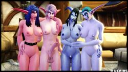 3d big_penis blue_skin breasts derias draenei night_elf nude outside penis pink_skin pussy warcraft world_of_warcraft
