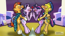 2017 alicorn ambiguous_penetration blush cutie_mark equine feathered_wings feathers female feral feral_on_feral flash_sentry friendship_is_magic group heart horn indoors jrapcdaikari male mammal my_little_pony pegasus penetration sex starlight_glimmer straight sunburst_(mlp) twilight_sparkle_(mlp) unicorn wings