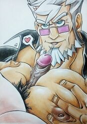 2boys bara capcom damon_gant dick_kiss dilf facial_hair gay glasses gyakuten_saiban human looking_up male male_only mr_hk muscle nipples old_man oral pecjob pecs penis pubic_hair smile solo_focus squeezing_pecs veiny_penis white_hair yaoi
