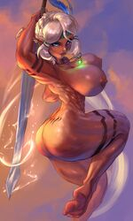 areola armpits ass big_breasts blue_eyes breasts cutesexyrobutts female female_only large_breasts looking_at_viewer muscular_female nipples nude perky_breasts puffy_areola scar small_waist solo sword tan_skin tattoos thick_thighs weapon white_hair