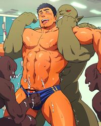 4boys ahe_gao bara bulge cum evil_grin facial_hair forced green_skin handjob interspecies locker locker_room male_focus multiple_boys muscle naughty_face orgasm pointy_ears restrained ruizu smile sweat topless yaoi