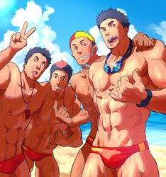 4boys abs bara beach human lifeguard male male_focus male_only multiple_boys muscle ruizu smile swimsuit topless v wet whistle