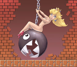 ass black_eyes blue_eyes breasts brick brick_wall chain_chomp chains crown ear_piercing female feral footwear headgear high_heels highres human long_hair looking_at_viewer looking_up mammal miley_cyrus navel nintendo nude on_top open_mouth parody piercing princess princess_peach royalty russ_smith sharp_teeth shoes sitting smile super_mario_bros. swinging teeth wrecking_ball