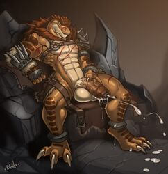 abs anthro armor balls belt big_balls big_penis bleats brown_skin chair claws clothing cum cum_on_feet cum_on_penis cum_string cumshot dinosaur ejaculation erection fur gauntlets gloves hi_res humanoid_penis male masturbation muscular muscular_male nude orgasm pecs penis sitting solo spread_legs spreading theropod thick_penis thick_thighsuncut throne tyler_(redmight) tyrannosaurus_rex vein