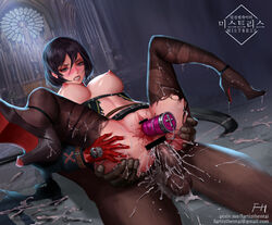 anal angry artist_name ass black_hair blood bottomless breasts censored clenched_teeth cum cum_explosion defeated dungeon_and_fighter female female fh large_breasts looking_at_viewer nipples rape sex sitting_on_person text