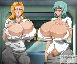2girls bimbo bleach blue_eyes blush breasts busty cleavage ero-enzo female hourglass_figure huge_ass huge_breasts hyper_breasts matsumoto_rangiku nelliel_tu_odelschwanck pubic_hair school_uniform schoolgirl thick thick_thighs voluptuous wide_hips