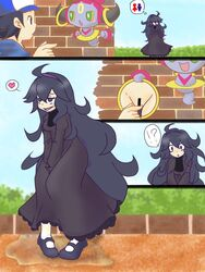 !? 1boy ahe_gao ahoge artist_request bar_censor between_legs black_eyes black_hair blue_hair blue_hoodie blue_sky blush blush_stickers breasts brick_wall bush censored comic dress female fingering floating full_body half-closed_eyes hand_between_legs hand_up hat have_to_pee heart hex_maniac hoodie hoopa horns long_hair long_sleeves looking_to_the_side looking_up matching_hair/eyes medium_breasts multiple_views npc_trainer open_mouth outdoors peeing peeing_self pokemon pokemon_(creature) pokemon_(game) pokemon_xy portal_(object) puddle purple_dress purple_eyes purple_hair purple_shoes pussy rolling_eyes shoes short_hair sky smile socks spoken_heart standing surprised text trembling turtleneck turtleneck_dress v_arms white_socks