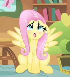 blue_eyes book bookshelf cum ears_down equine eyelashes feathered_wings feathers feral fluttershy_(mlp) friendship_is_magic hi_res mammal my_little_pony open_mouth pegasus photo rainbownspeedash sitting sofa solo tongue tongue_out wings