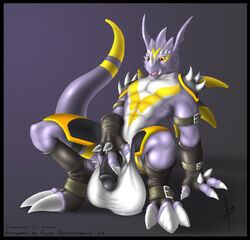2008 3_fingers 3_toes abs agroalba anthro arm_support armor balls biceps big_balls big_claws black_armwear black_border black_clothing black_gloves black_legwear black_penis black_socks border claws clothing digimon digital_media_(artwork) dragon dragoneer_(character) facial_markings fan_character fingerless_gloves flaccid front_view glans gloves greaves grey_background head_wings horn huge_balls humanoid_penis hyper hyper_balls leaning leaning_back legwear long_tail male markings membranous_wings mostly_nude multicolored_scales multicolored_tail murasadramon muscular muscular_male open_mouth pauldron pecs penis pink_tongue purple_scales purple_tail purple_wings red_eyes scales scalie signature simple_background socks solo spikes straps thick_tail toe_claws toeless_socks toes tongue two_tone_tail white_balls white_claws white_horn white_scales wings yellow_markings yellow_scales yellow_sclera yellow_tail