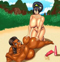 2girls aged_up ahe_gao alternate_version_available arms_up ass_grab avatar_the_last_airbender bare_shoulders barefoot beach bent_over big_ass big_breasts big_butt biting_lip black_hair blue_eyes breast_outside breast_squeeze brown_hair brown_nipples brown_skin busty butt_crack choker cleavage clenched_teeth cssp curvy dark-skinned_female dark_nipples dark_skin dat_ass day detailed_background duo eyelashes female female_only front_view g-string grab grabbing gray_eyes hair_bun hair_ornament headband hourglass_figure human interracial katara kneeling long_hair looking_down lying multiple_females multiple_girls naked nickelodeon nude older open_mouth outdoor outside ponytail pose posing rolling_eyes sand shiny shiny_skin short_hair squeeze squeezing sunscreen suntan_lotion teenage tied_hair tongue_out toph_bei_fong topless voluptuous wide_hips yuri