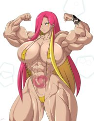 abs biceps big_muscles bikini breasts cleavage extreme_muscles female female_only flexing large_breasts long_hair looking_at_viewer muscles muscular_female nintendo pink_hair plumeria pokemon pokemon_(game) pokemon_sm pose sling_bikini solo tattoo thick_thighs thighs yellow_eyes zetarok