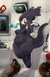anthro breasts cuddlebutt facial_piercing female nazareth nipples nose_piercing nose_ring overweight piercing reptile scalie ship snake sneaky solo space vehicle wet wide_hips