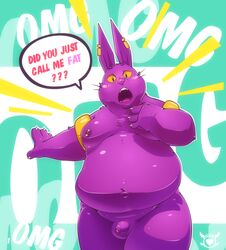 2017 animal_genitalia anthro balls belly big_belly big_ears blush champa digitslayer dragon_ball dragon_ball_super english_text feline feline male mammal moobs obese overweight overweight_male purple_balls solo text