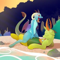 <3_eyes b-epon beach braddo changeling cowgirl_position dragon duo female forest friendship_is_magic heart male male/female my_little_pony on_top princess_ember_(mlp) river scalie seaside sex suggestive thorax_(mlp) tongue tree