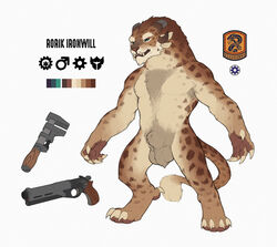 animal_genitalia animal_penis anthro armpit_hair balls big_balls big_claws blue_eyes brown_fur charr chest_fur claws darkened_genitals feline fluffy fully_sheathed fur guild_wars gun handgun horn instrument male male_only mammal model_sheet nude penis pistol ranged_weapon sheath simple_background snowskau solo solo_male standing tools video_games weapon white_background wrench