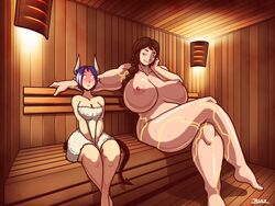 2girls barefoot blazbaros blue_hair blush braid breasts brown_hair curvy cyborg demon_girl female female_only horns huge_breasts large_breasts monster_girl muscles muscular_female nipples nude sauna size_difference succubus sweat tail thick_thighs thighs towel yellow_eyes