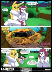 anthro blood bone breasts bucky_o'hare_(series) clothing comic dialogue digimon duo english_text feline female forest hi_res jenny_(bucky_o'hare) mammal nipples renamon text torn_clothing tree undressing wide_hips yawg