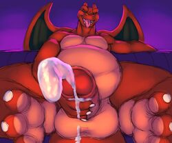 anthro anthrofied bald balls barefoot biceps big_balls big_penis blue_eyes charizard claws close-up cum cum_on_hand cum_on_penis cumshot ejaculation fangs half-closed_eyes horn klent looking_at_viewer looking_down male manly masturbation muscular nintendo nude open_mouth orange_skin orgasm overweight pecs penis pokemon sharp_teeth sitting smile sofa solo spread_legs spreading teeth thick_penis thick_thighs toe_claws tongue tongue_out triceps uncut video_games wings
