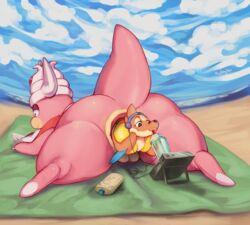 anal_vore anus beach floatzel lotion lying nintendo pokemon pussy seaside size_difference slowking tingtongten video_games vore