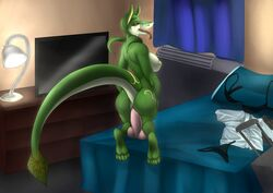 anal anal_masturbation anthro bed clothes_on_floor dildo female freelapse hotel_room invalid_tag masturbation nintendo nude open_mouth pokemon reptile scalie serperior sex_toy snake tongue tongue_out video_games