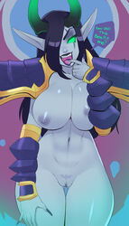black_hair breasts fangs female finger_to_mouth green_eyes greenmarine grey_skin heroes_of_the_storm horns jaina_proudmoore navel nipples pubic_tattoo pussy solo warcraft world_of_warcraft