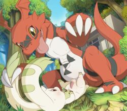 2017 anal anal_sex balls digimon guilmon hi_res male male/male penetration scalie size_difference terriermon tricksta