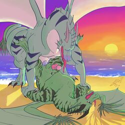 2017 4_horns anajir anal animal_genitalia balls beach blue_nose blue_penis claws coiled_tails digital_media_(artwork) dragon feral green_scales keichi_barhazard knot male male/male open_mouth penis pinned precum scales scalie seaside sex sheath smallspeak stripes sun tongue wings