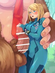 balls beauty_mark big_breasts blonde_hair blue_eyes blush bodysuit boris_(noborhys) censor_bar censored donkey_kong donkey_kong_(series) female human interspecies long_hair male male/female metroid monkey nintendo open_mouth penis primate samus_aran size_difference straight sweat sweatdrop zero_suit zoophilia