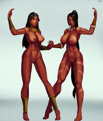 2girls areolae big_breasts breasts crossover dark-skinned_female dark_skin diablo female female_only large_breasts league_of_legends looking_at_viewer nidalee nipples nude pussy sorceress