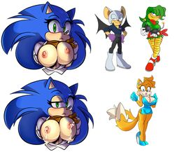 3girls avian bandana bare_breasts bat bean_the_dynamite bimbo bird blue_eyes blush bombs breast_milk breasts canine cleavage clothed clothing cuisine dress fox fox_ears fox_tail foxgirl hedgehog high_heels hourglass_figure lactating lactation mammal milk rouge_the_bat rule_63 smile sonic_(series) sonic_the_hedgehog tails tailsko wings woodpecker