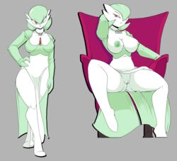 alternate_species big_breasts breasts clothed clothing female gardevoir green_eyes green_hair hair heterochromia human humanized humanoid mammal modestimmorality nintendo nipples pokemon pose pussy red_eyes solo spread_legs spreading video_games voluptuous