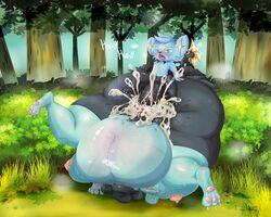big_penis cum cum_in_pussy cum_inside cum_overflow excessive_cum female inflation inflation male male/female meshi-oshi nintendo overweight penis pokemon shinx size_difference vaginal_penetration video_games young