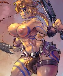 abs areolae armor ass axe barbarian belt biceps big_ass blonde_hair blood blood_on_face blood_splatter blue_eyes bodypaint braid breasts cowboy_shot cutesexyrobutts dual_wielding facepaint female female_only headband highres huge_breasts human large_breasts legband loincloth long_hair melee_weapon muscles muscular_female navel nipples perky_breasts ponytail single_braid skull skull_ornament smile smirk solo spikes thick_thighs topless weapon wide_hips