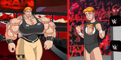 archie_andrews archie_comics belt big_muscles breasts cleavage extreme_muscles female huge_breasts kissthemaniac large_breasts male mary_andrews mother mother_and_son muscles muscular muscular_female orange_hair size_difference son wrestling