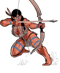 arrow black_hair bodypaint bow brown_eyes female female_only indian krekk0v muscles muscular_female solo thong toned weapon