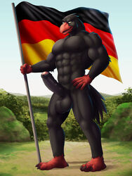 abs anthro avian balls biceps big_balls big_penis bird black_feathers dream_and_nightmare eagle erection feathers flag foreskin german germany male muscular nipples nude pecs penis precum solo uncut yellow_eyes