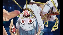 1boy barefoot blue_hair censored chains cum feet fellatio female grey_skin nipples oral penis red_eyes restrained small_breasts soles teeth toes tokyo_tenma_devil_prison tongue