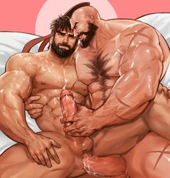 2boys abs anal bara beard black_hair capcom cum cum_in_ass cum_on_body cum_while_penetrated cumdrip erection facial_hair handjob headband lying male_focus multiple_boys muscle nude pecs penetration penis penis_grab ryuu_(street_fighter) scar sex smile street_fighter testicles uncensored yaoi yy6242 zangief