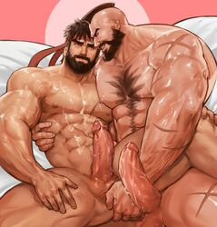 2boys abs anal bara beard black_hair capcom cum cum_on_body erection facial_hair fingering headband lying male_focus multiple_boys muscle nude pecs penis ryuu_(street_fighter) scar smile street_fighter testicles uncensored yaoi yy6242 zangief