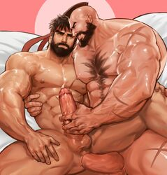 2boys abs anal bara beard black_hair capcom erection facial_hair handjob headband lying male_focus multiple_boys muscle naughty_face nude pecs penetration penis penis_grab ryuu_(street_fighter) scar sex smirk street_fighter testicles uncensored yaoi yy6242 zangief