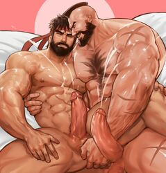 2boys abs anal bara beard black_hair capcom cum cum_on_body ejaculation erection facial_hair fingering headband lying male_focus multiple_boys muscle nude orgasm pecs penis ryuu_(street_fighter) scar smile street_fighter testicles uncensored wince yaoi yy6242 zangief