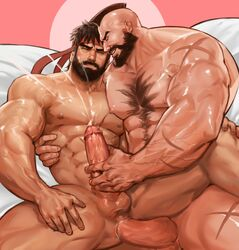 2boys abs anal ass_juice bara beard black_hair capcom cum ejaculation erection facial_hair handjob headband lying male_focus multiple_boys muscle nude orgasm pecs penetration penis penis_grab ryuu_(street_fighter) scar sex street_fighter testicles uncensored yaoi yy6242 zangief