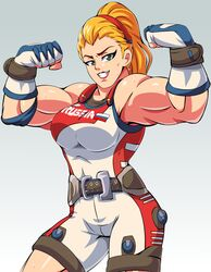 abs alternate_hairstyle areolae armpits belt biceps blonde_hair bocodamondo breasts champion_zarya female female_only fingerless_gloves flexing front_view gloves gradient_background green_eyes hairband human large_breasts lipstick long_hair looking_at_viewer muscles muscular_female overwatch ponytail red_lipstick shiny_skin simple_background smile solo sweat zarya