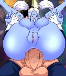 anal anal_sex angel_(dragon_ball) areolae ass balls big_balls black_hair blue_skin breasts clenched_teeth clitoris cross-eyed double_v dragon_ball dragon_ball_super drooling duo endured_face eyelashes faceless_male female full_nelson furanh gesture gloves hairless_pussy highres huge_ass huge_cock interspecies kiss_mark large_breasts lavender_eyes leg_grab lipstick_on_penis long_hair male marcarita nipples nude penis perspective plump_labia puffy_nipples pussy reverse_cowgirl_position saiyan saliva sex solo_focus spiky_hair straight tight_fit twintails v vegeta white_hair