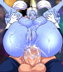 anal anal_sex angel_(dragon_ball) areolae ass balls big_balls black_hair blue_skin breasts clenched_teeth clitoris cross-eyed cum cum_covered cum_in_ass cum_inside cum_on_ass cum_on_breasts cum_on_face cum_on_leg cum_on_pussy cumdrip double_v dragon_ball dragon_ball_super drooling duo endured_face excessive_cum eyelashes faceless_male female full_nelson furanh gesture gloves hairless_pussy highres huge_ass huge_cock interspecies large_breasts lavender_eyes leg_grab long_hair male marcarita nipples nude penis perspective plump_labia puffy_nipples pussy reverse_cowgirl_position saiyan saliva sex solo_focus spiky_hair straight tight_fit twintails v vegeta white_hair
